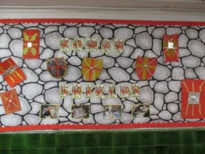 Finally, we displayed our work in our school for all to see! We are proud of our effort in DT and our completed Roman Shields!